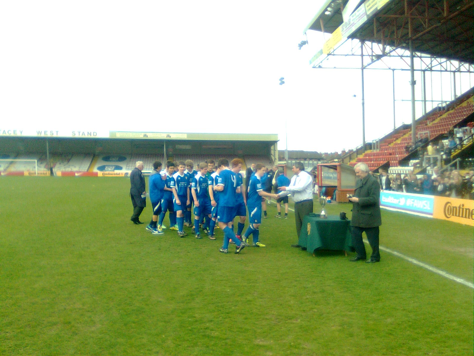 Gainsborough Captain receives the County Cup Trophy