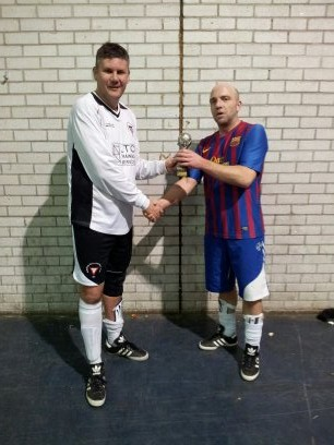 Steve McDonald receiving award for last goal at Mayflower 5s