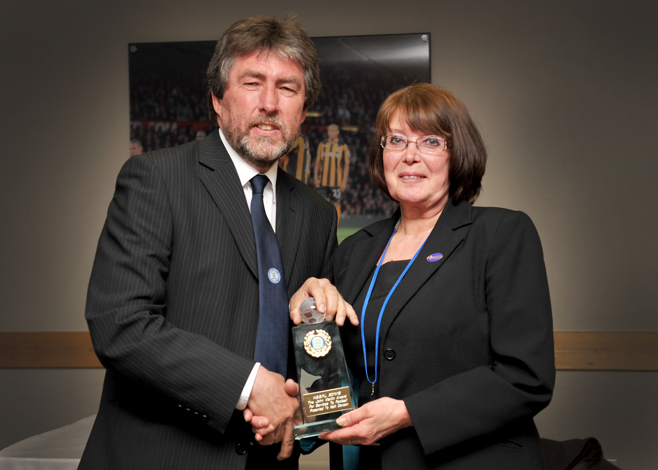 John Suddard presents Kath Dawson with John Martin Award 